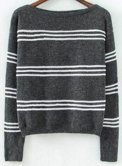 Grey Long Sleeve Striped Crop Knit Sweater