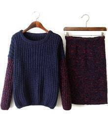 Blue Long Sleeve Loose Knit Sweater With Slim Skirt