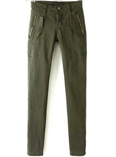 Army Green Slim Zipper Pockets Pant