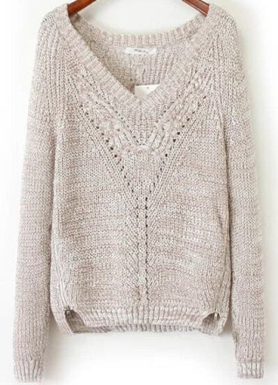 Apricot V-neck Eyelash Side Zipper Jumper
