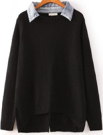 Black Contrast Denim Lapel Split Back Sweater