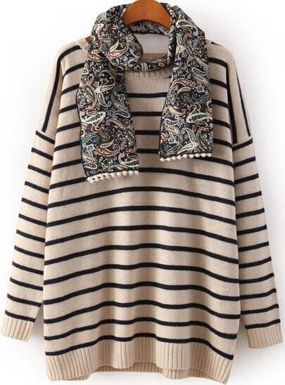 Beige Dropped Shoulder Detachable Scarve Striped Jumper