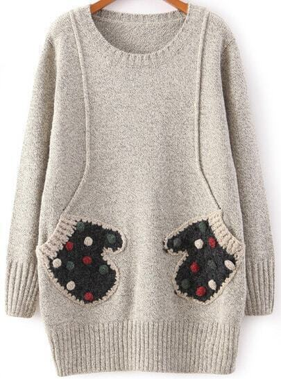 Grey Round Neck Patched Glove Pocket Jumper