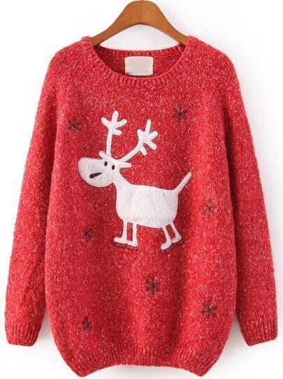 Red Raglan Sleeve Embroidery Snowflake and Deer Jumper