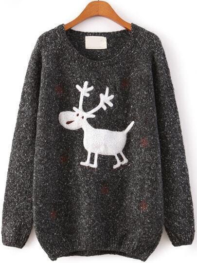 Black Raglan Sleeve Embroidery Snowflake and Deer Jumper