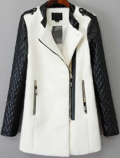White Stand Collar Contrast PU Leather Zipper Pocket Coat
