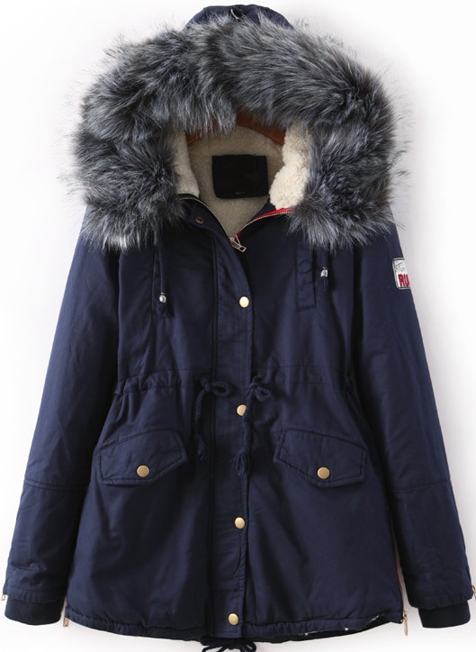 Navy Faux Fur Trim Hood Pockets Drawstring Parka -SheIn(Sheinside)