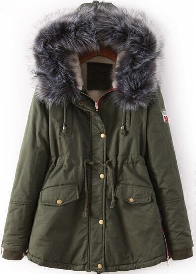 Army Green Faux Fur Trim Hood Pockets Drawstring Parka