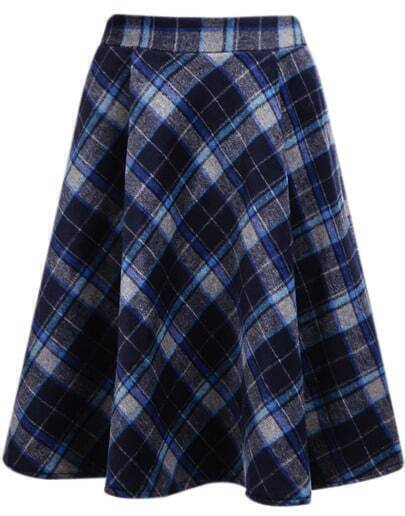 Blue Classic Plaid Midi Skirt