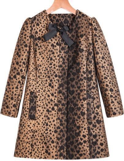 Khaki Long Sleeve Leopard Print Bow Coat