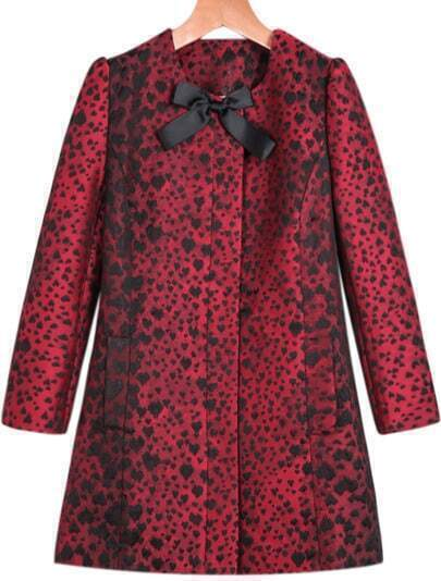 Red Long Sleeve Leopard Print Bow Coat