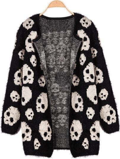Black Long Sleeve Skull Print Knit Cardigan