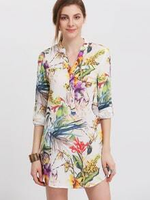 Multicolour Long Sleeve Floral Print Dress