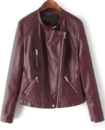 Red Long Sleeve Zipper Crop PU Jacket