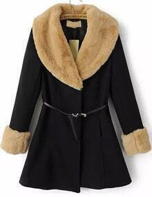 Black Rabbit Fur Long Sleeve Slim Belt Coat