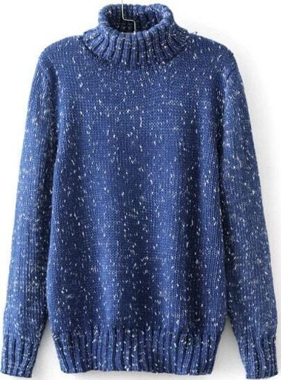 Blue High Neck Long Sleeve Vintage Knit Sweater