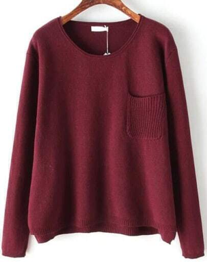 Red Long Sleeve Pocket Knit Sweater