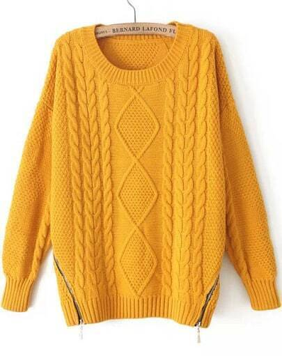 Yellow Long Sleeve Zipper Cable Knit Sweater