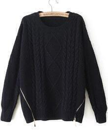 Navy Long Sleeve Zipper Cable Knit Sweater