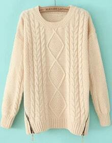 Beige Long Sleeve Zipper Cable Knit Sweater