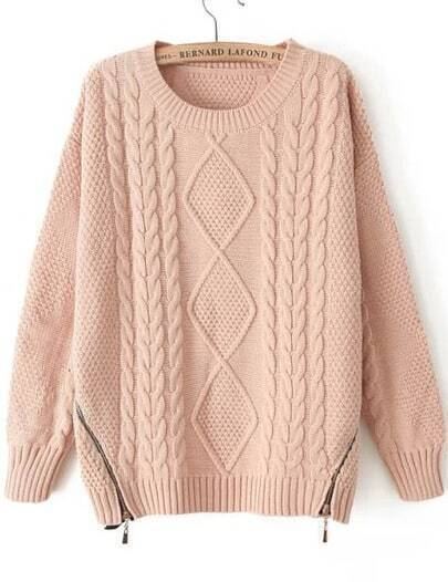 Pink Long Sleeve Zipper Cable Knit Sweater