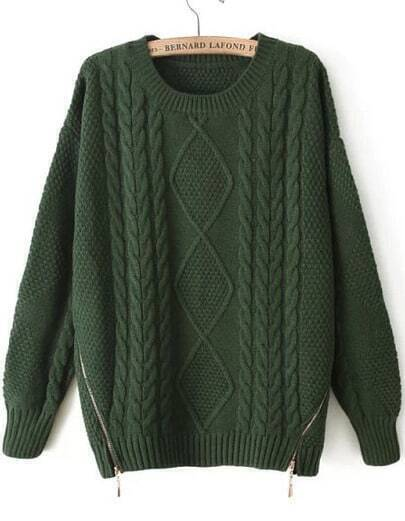 Green Long Sleeve Zipper Cable Knit Sweater