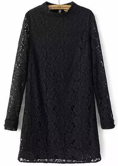 Black Long Sleeve Slim Lace Dress