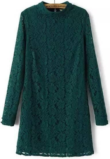 Green Long Sleeve Slim Lace Dress