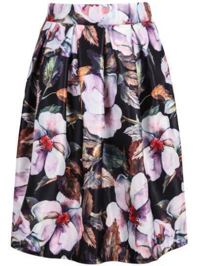 Black High Waist Floral Midi Skirt