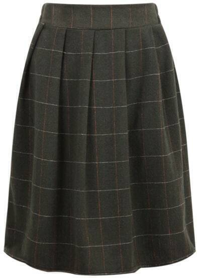 Green Plaid Woolen Midi Skirt