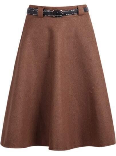 Khaki Simple Design Woolen Midi Skirt