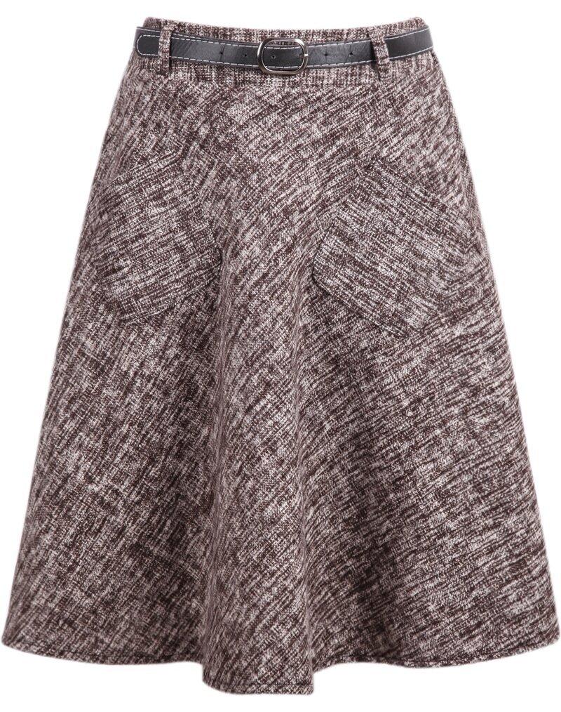 khaki pockets woolen midi skirt shein sheinside