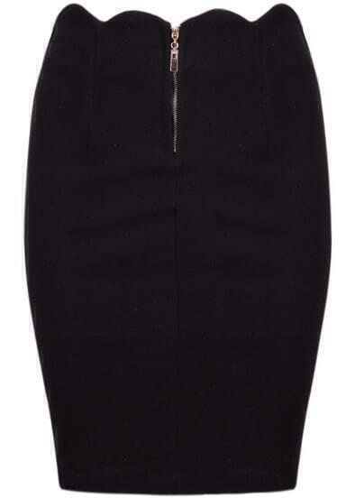 Black High Waist Scalloped Midi Skirt