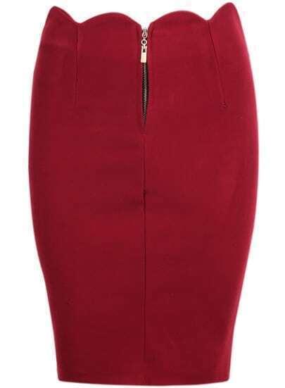 Red High Waist Scalloped Midi Skirt