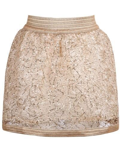 Gold Zipper Sequined Lace Skirt