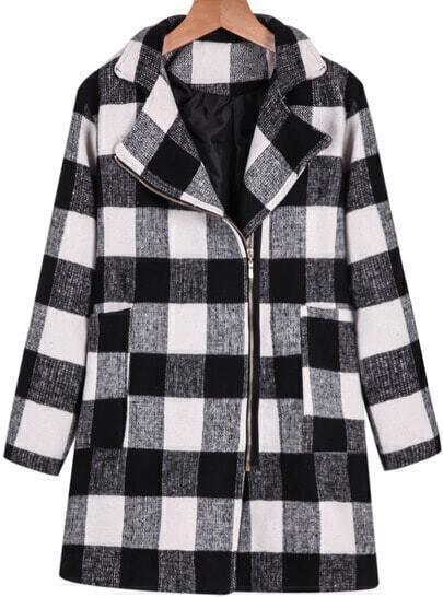 Black White Long Sleeve Zipper Plaid Coat