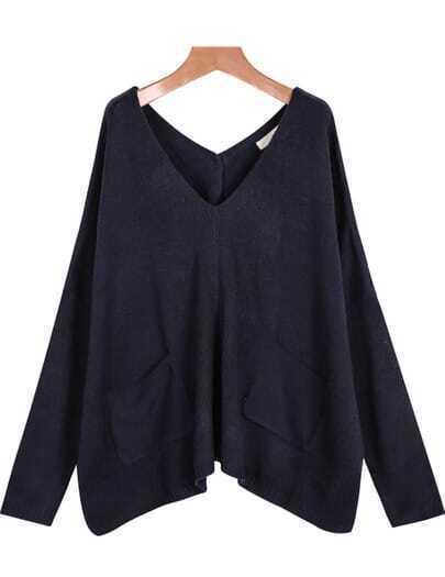Jersey punto cuello pico bolsillos-azul