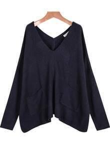 Blue V Neck Long Sleeve Pockets Knit Sweater