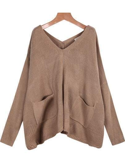 Apricot V Neck Long Sleeve Pockets Knit Sweater