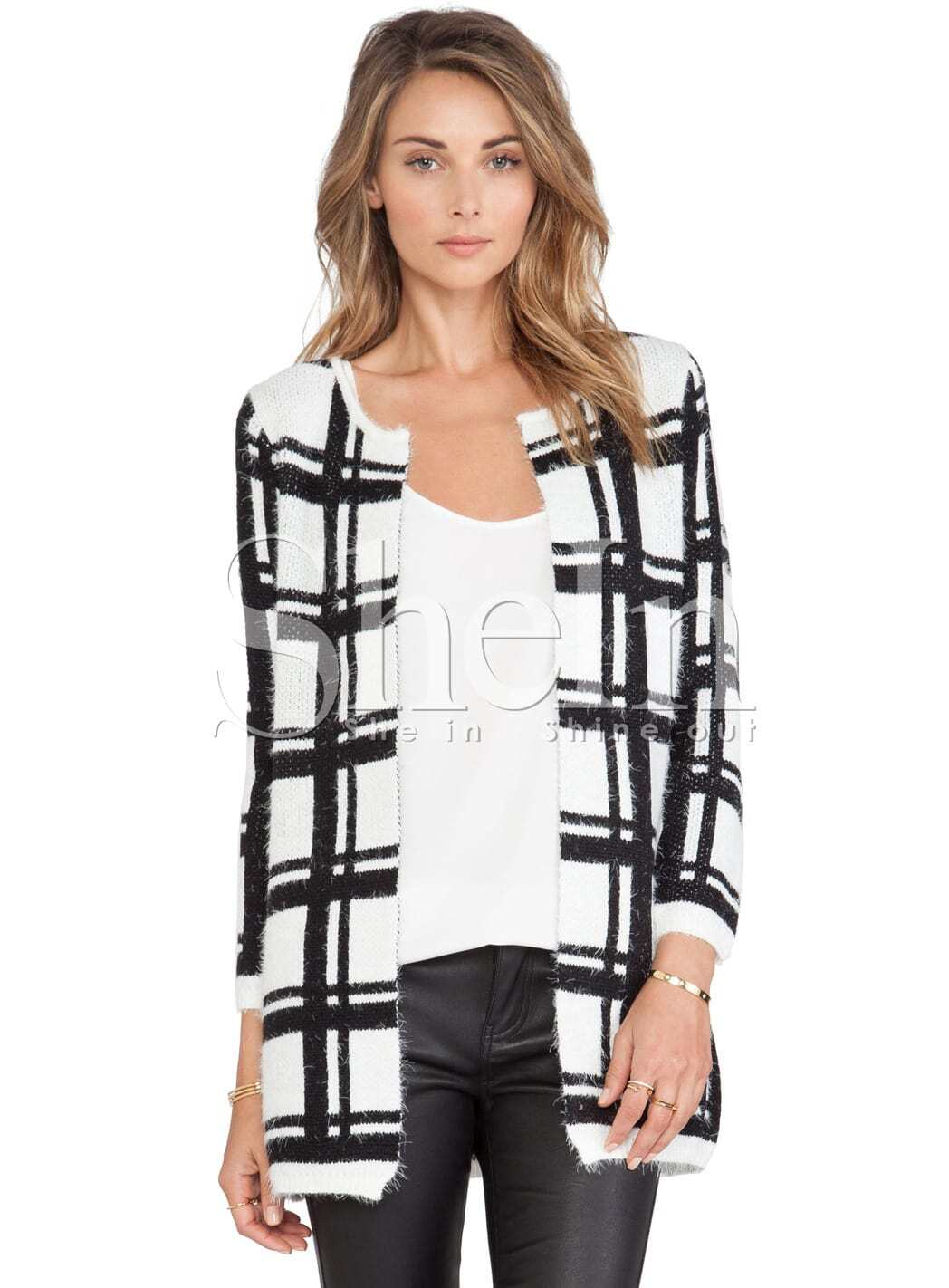 White Black Long Sleeve Plaid Cardigan Sweater