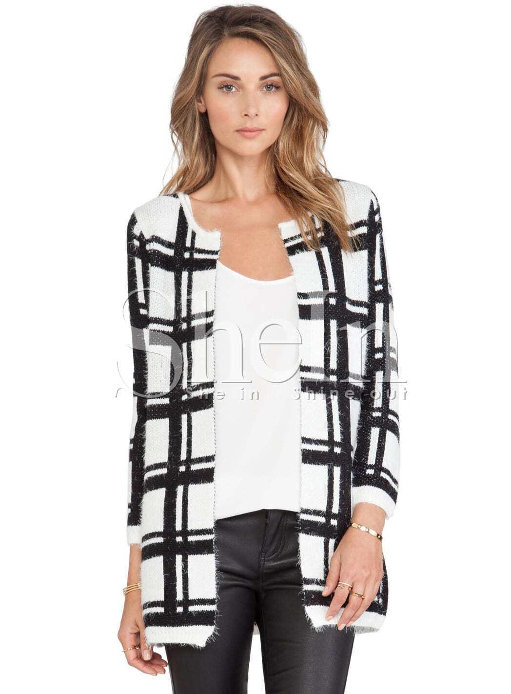 White Black Long Sleeve Plaid Cardigan Sweater