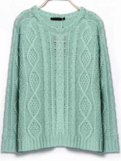 Blue Round Neck Long Sleeve Cable Knit Sweater