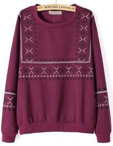 Wine Red Long Sleeve Embroidered Loose Sweatshirt
