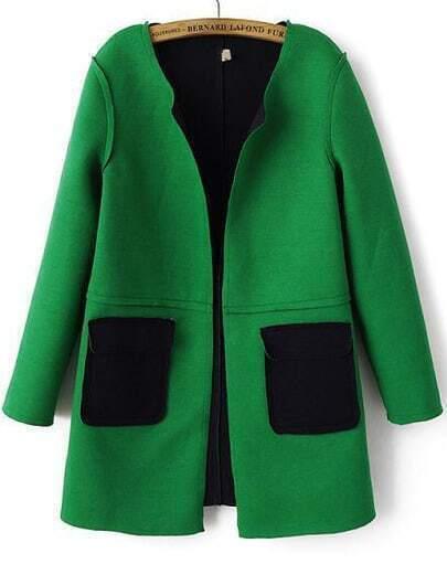 Green Long Sleeve Pockets Woolen Coat