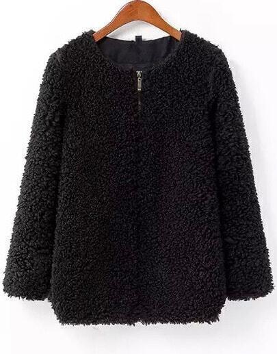 Abrigo piel sintético suelto manga larga-negro