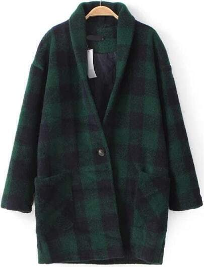 Green Long Sleeve Plaid Woolen Coat