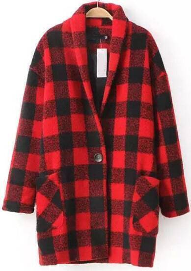 Red Long Sleeve Plaid Woolen Coat