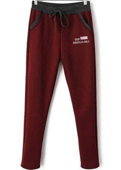 Red Drawstring Waist Pockets Loose Pant