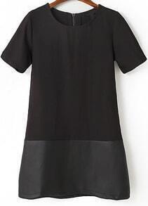 Black Short Sleeve Contrast PU Leather Straight Dress