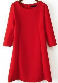 Red Round Neck Half Sleeve Slim Dress